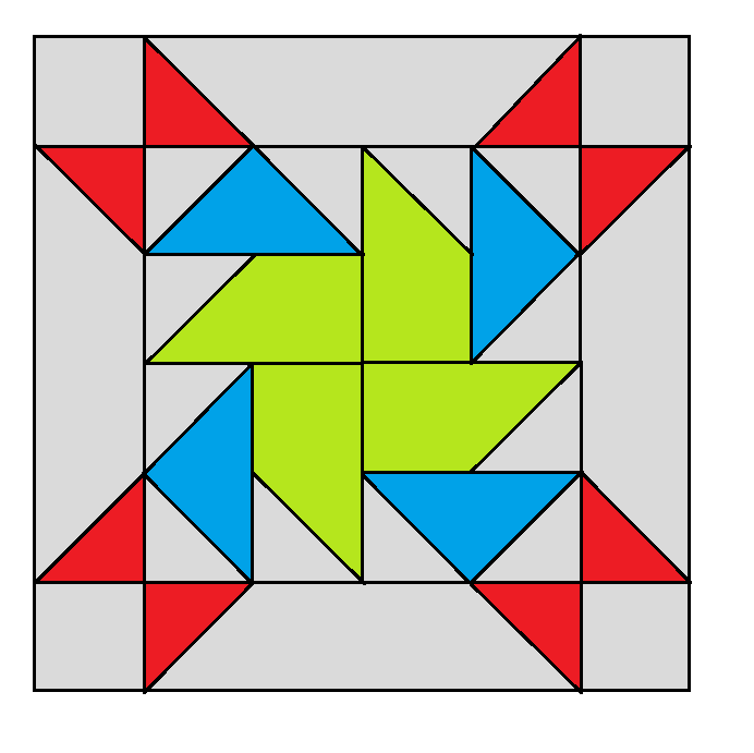 Rolling Pinwheel Quilt Block - digital download