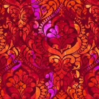 "Fiorenza Digital printed 108"" wide  - Red Persimmon"