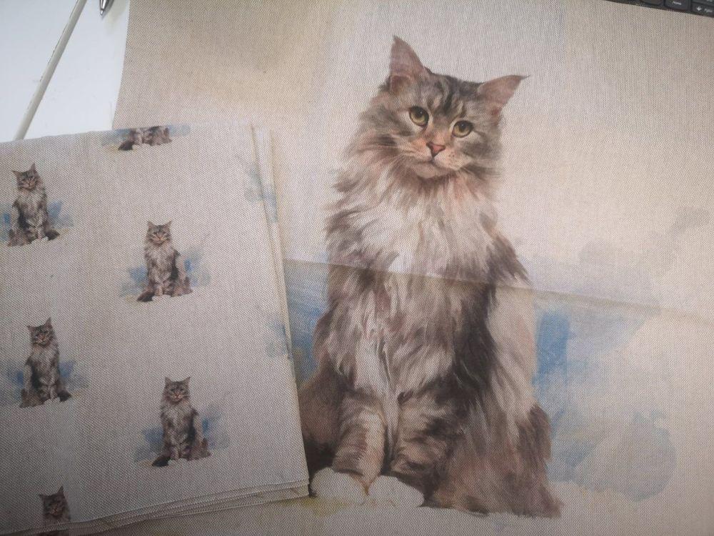 Digitally printed Cat Linen Fabric Panel & 1/2m of coordinating fabric