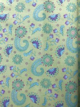 Job Lot 1.35m Elegant Peacock  Fabric - apple green & flowers