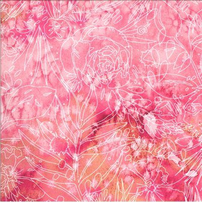 Moda - Moody Bloom by Create Joy Project - Fuchsia with white etchings 8447