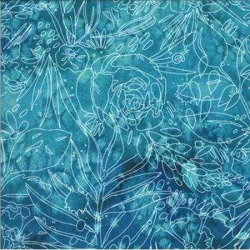 Moda - Moody Bloom by Create Joy Project - Teal with white etchings 8447 15D