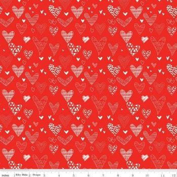 From the Heart by Riley Blake 10051 White Line Hearts on Red