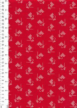 Riley Blake Bee Basics 6401 RED cross stitch hearts & needle