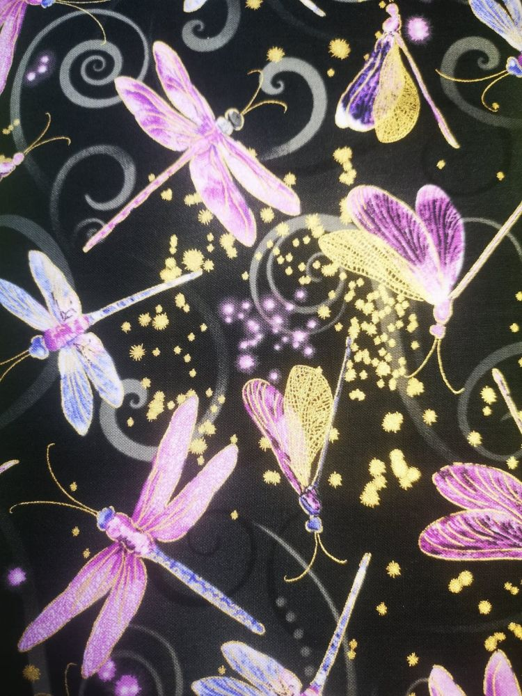 Dragonfly Dance By Benartex - black with purple & lilac dragonflies, gold a