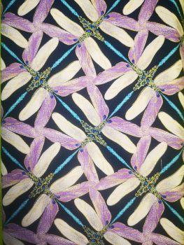 Dragonfly Dance By Benartex - Lilac dragonfly jewel cross, navy background