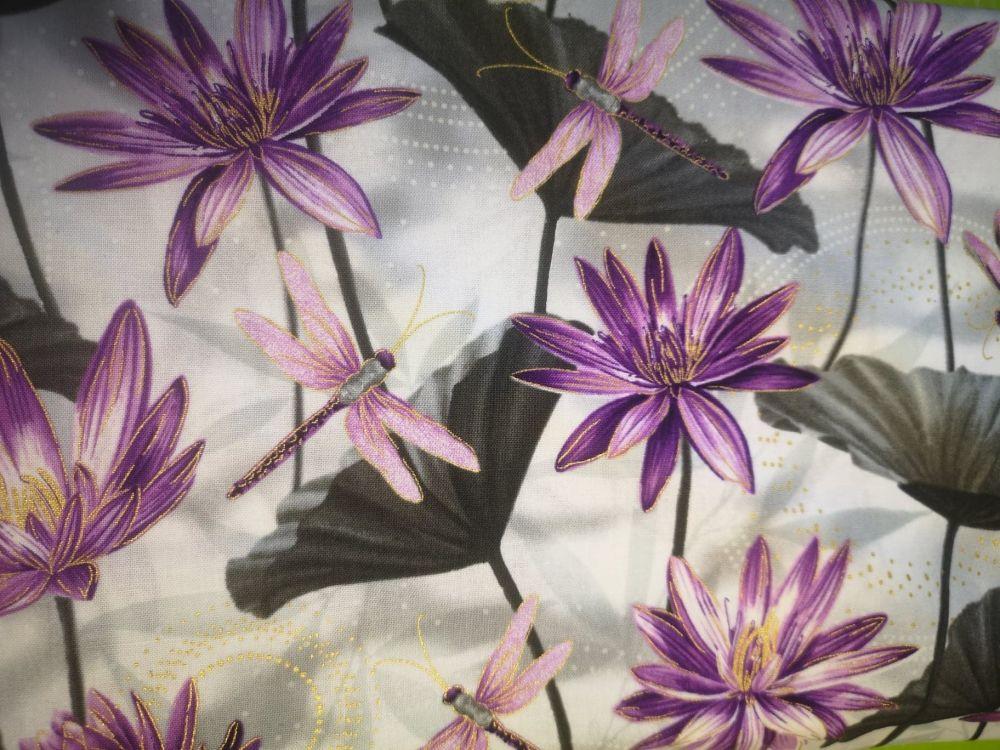 Dragonfly Dance By Benartex - lilac lotus blossom & dragonfly on grey