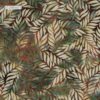 Island Batik 112005075- 6/1013 Brown outline of light green leaves