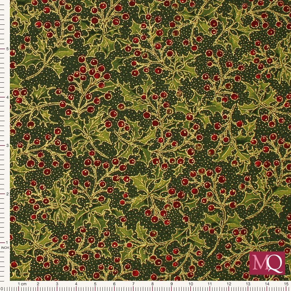 Moda Poinsettias and pine - Evergreen