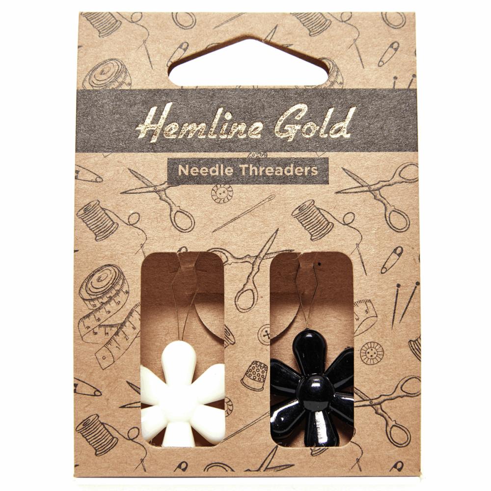 Hemline Gold Needle Threader: Flower: 2 Pieces