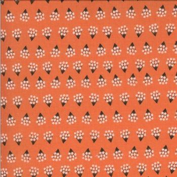 Moda -Dwell in Possibility by Gingiber - Coral background with white posies - Poppy 48314 11