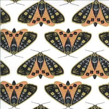 Moda -Dwell in Possibility by Gingiber - Ivory background with coral moths - 48311 19M