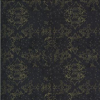 Moda -Dwell in Possibility by Gingiber - black background with metallic dotty pattern - 48317 23M