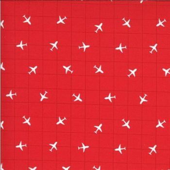 On the Go by Moda - Red background  with white aeroplane
