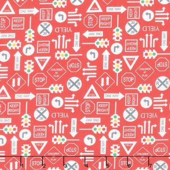 On the Go by Moda - Red background  with traffic signs