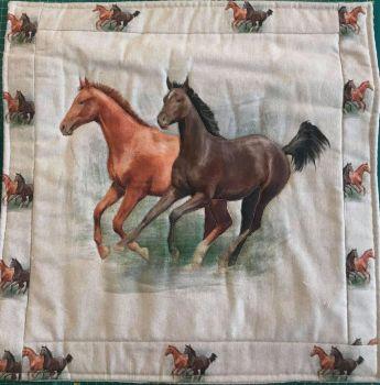 Horse Linen Cushion with Deep Oxford Edge