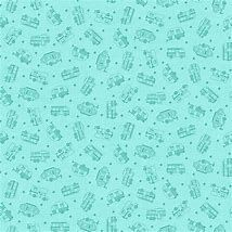 Roamin' Holiday - Studio E Fabric - Turquoise background with sketched caravans