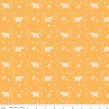 Riley Blake - Strawberry Honey - Golden background with bear silhouette C10243