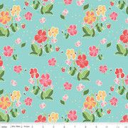 Riley Blake - Strawberry Honey - Aqua background with florals C10240