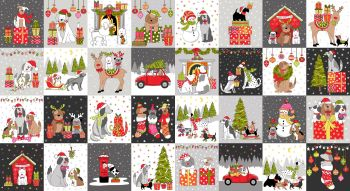 """Yappy Dogs! Christmas - blocks panel 60cm wide by 42"""""""