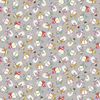 Makower Santa Express Snowman Grey 2386/S