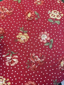Moda - French General - Jardin de Fleurs - Rouge background with dots and flowers 13893 12