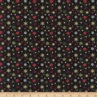 Benartex - Holiday Charm - Black background with coloured snowflakes P9604M