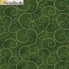 Benartex - Holiday Charm - Green background with gold swirl P9606/m