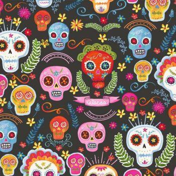Michael Miller Sugar Skulls - charcoal background