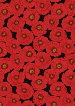 Lewis & Irene Poppies Red poppy on black A554 C3