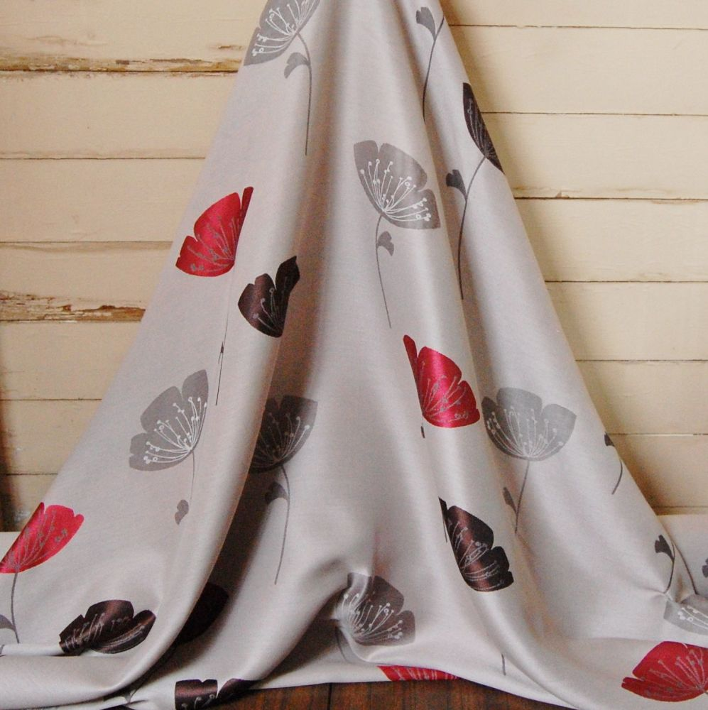 WOVEN FLORAL COTTON WITH RED, GREY AND BEIGE FLOWERS 083C