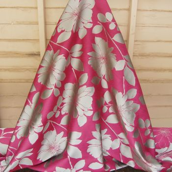 DEEP PINK AND SILVER GOLD WOVEN FLORAL CURTAIN FABRIC
