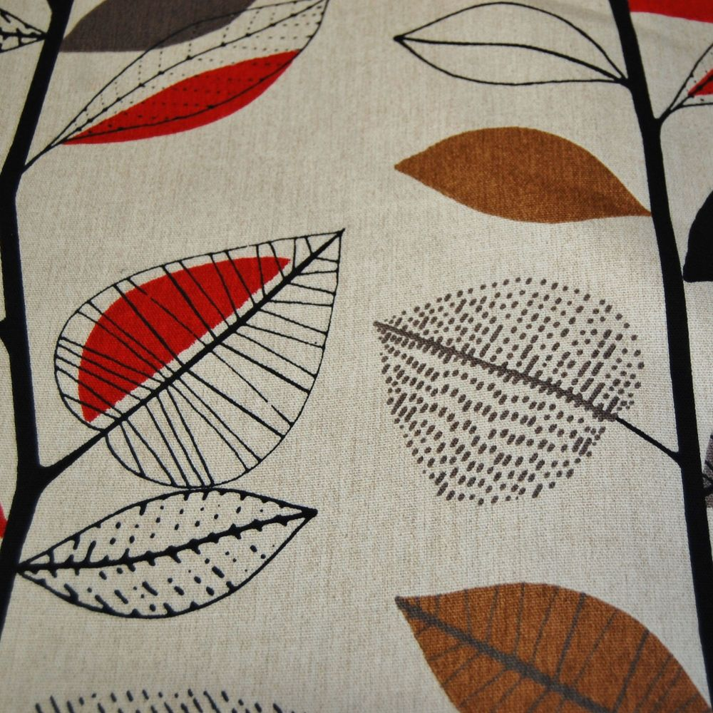 PRESTIGIOUS AUTUMN LEAVES IN RED BERRY 100% COTTON FOR CURTAINS & SOFT FURN
