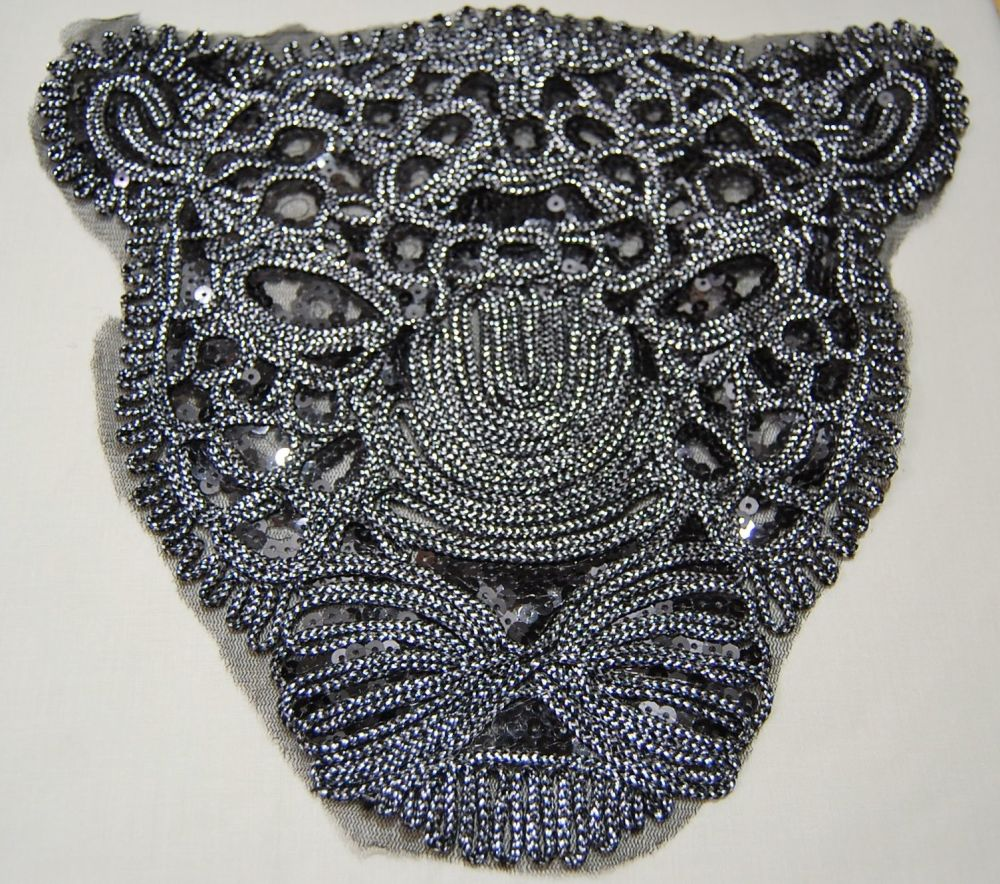 LARGE BLACK PANTHER SEQUINED EMBELLISHMENT, SEW ON.