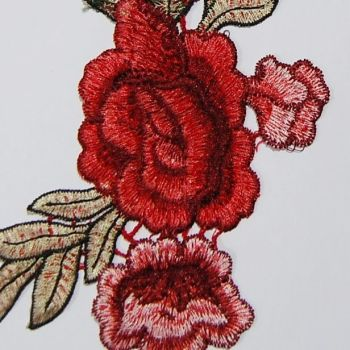 PAIR (2) EMBROIDERED RED ROSE EMBELLISHMENT, SEW ON.