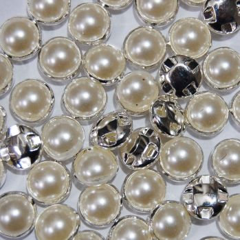 PACK OF 10 SILVER METAL PEARL BUTTONS 8MM