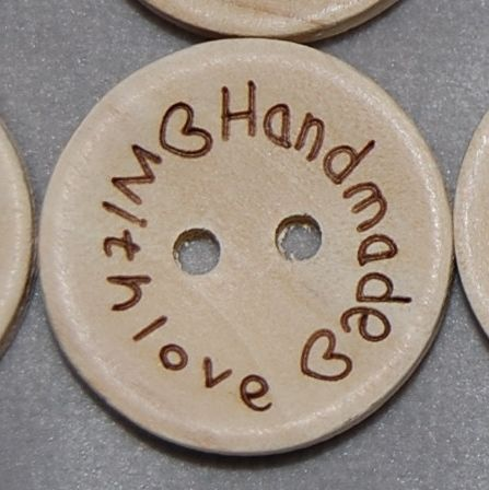 PACK OF 10 WOODEN 'HANDMADE WITH LOVE' BUTTONS, 20MM - 2 HOLE.
