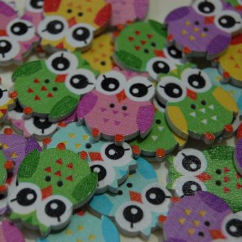 MIXED PACK OF 10 OWL BUTTONS, 2 HOLE.