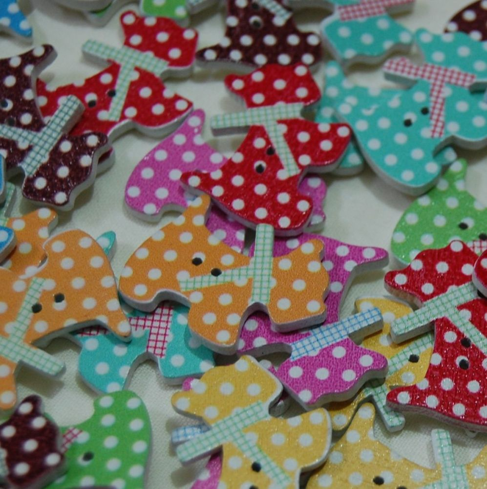 MIXED PACK OF 10 POLKA DOT DOG BUTTONS, 2 HOLE.