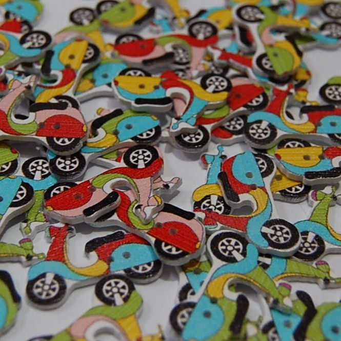 MIXED PACK OF 10 MOPED BUTTONS, 2 HOLE.