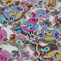 MIXED PACK OF 10 SINGING BIRD BUTTON EMBELLISHMENTS, 2 HOLE.