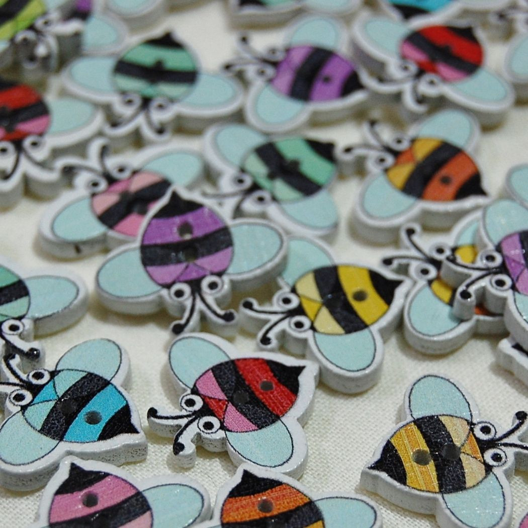 MIXED PACK OF 10 PAINTED FLYING BUG BUTTON EMBELLISHMENTS, 2 HOLE.