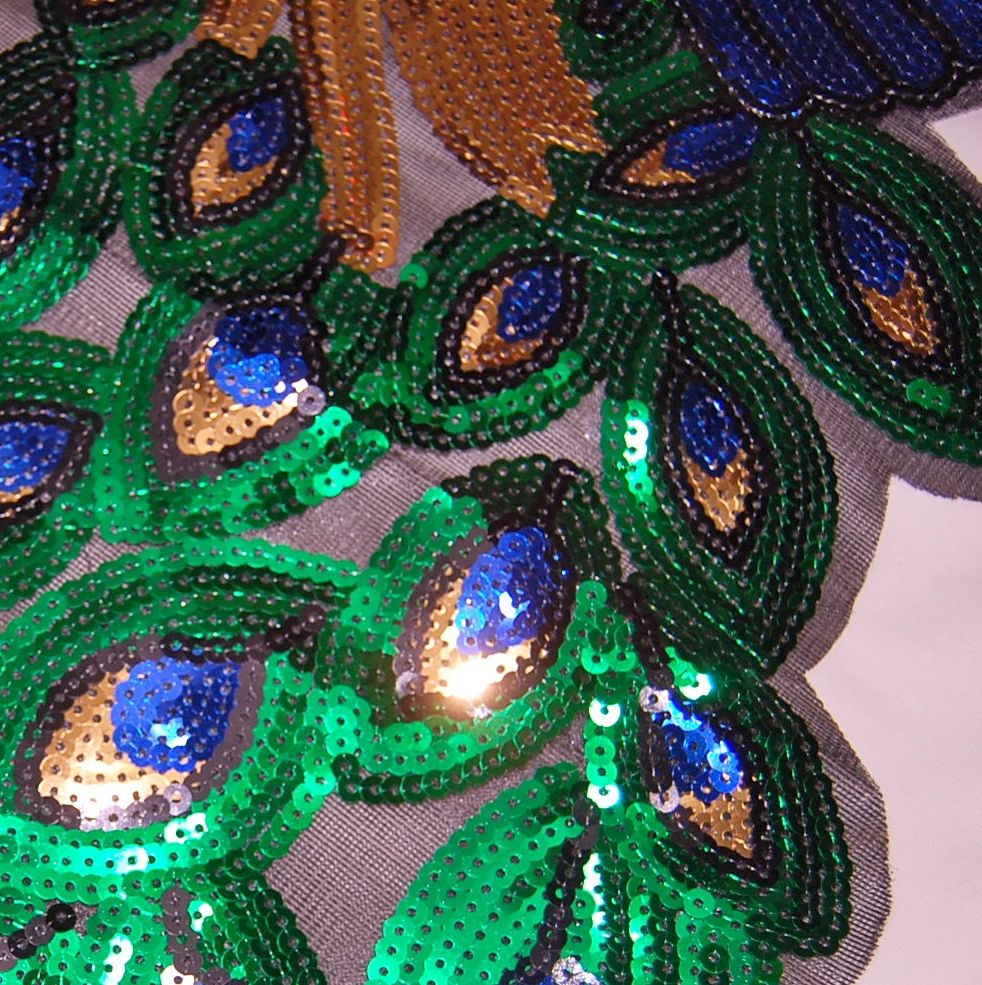 LARGE SEQUINED PEACOCK EMBELLISHMENT, SEW ON.