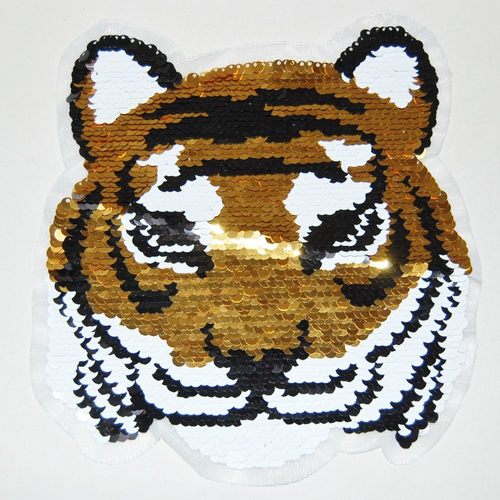 LARGE SEQUINED TIGER HEAD EMBELLISHMENT, SEW ON.