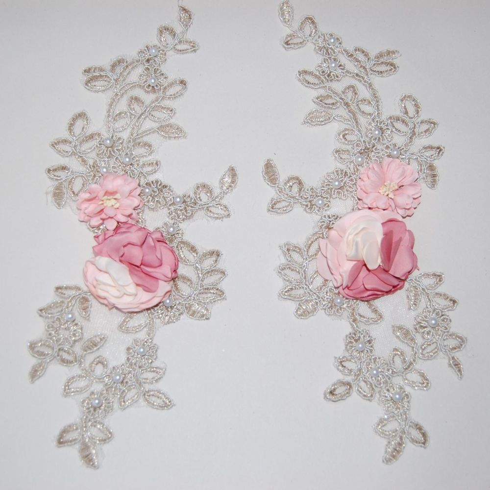 PAIR OF INTRICATE BEADED SEW ON EMBELLISHMENTS, ON VERY FINE NET.
