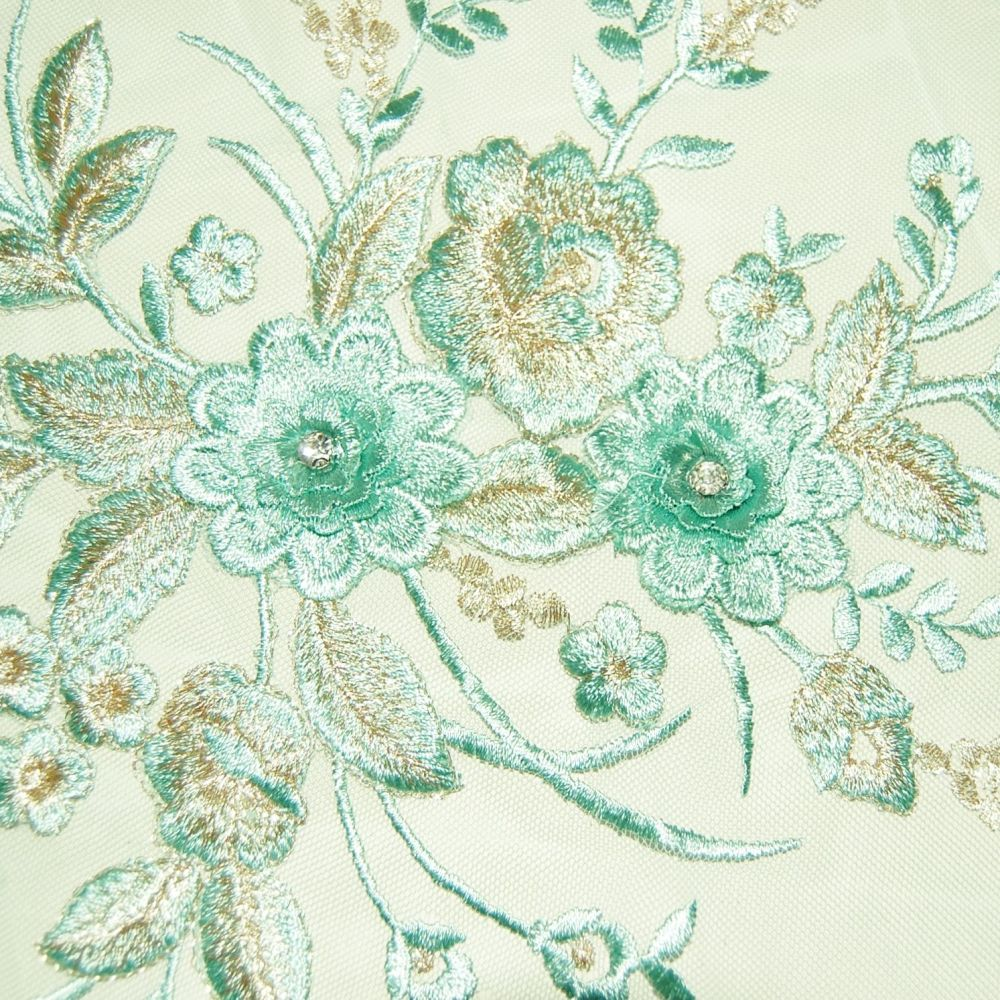 LARGE SEW ON EMBELLISHMENT WITH FLOWERS & DIAMONTE CENTRES, ON A VERY FINE