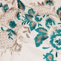 LARGE SEW ON EMBELLISHMENT IN JADE GREEN, CREAM & GOLD, ON A VERY FINE NET.