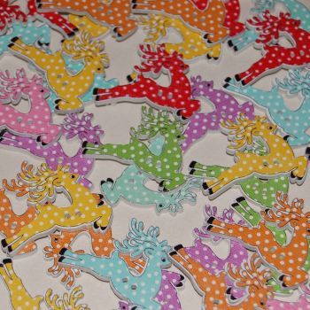 MIXED PACK OF 10 LEAPING REINDEER BUTTON EMBELLISHMENTS, 2 HOLE.