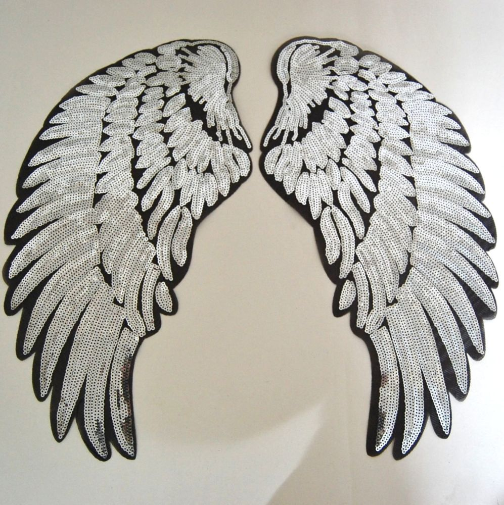 PAIR OF SILVER SEQUIN ANGEL WNGS, IRON ON.