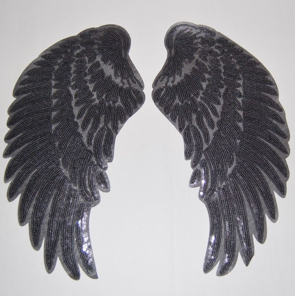 PAIR OF BLACK SEQUIN ANGEL WNGS, IRON ON.